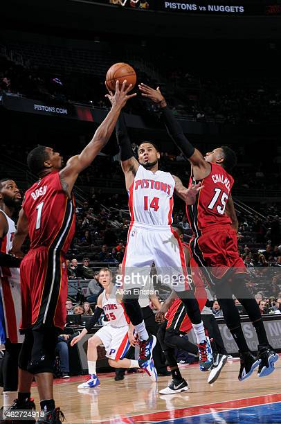 J Augustin of the Detroit Pistons shoots against the Miami Heat on February 3 2015 at The Palace of Auburn Hills in Auburn Hills Michigan NOTE TO...