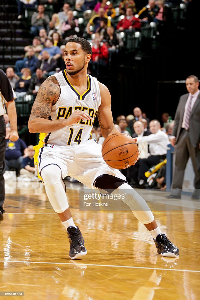 D.J. Augustin #14 of the Indiana Pacers controls the ball against the Toronto Raptors on November 13, 2012 at Bankers Life Fieldhouse in Indianapolis, Indiana.
