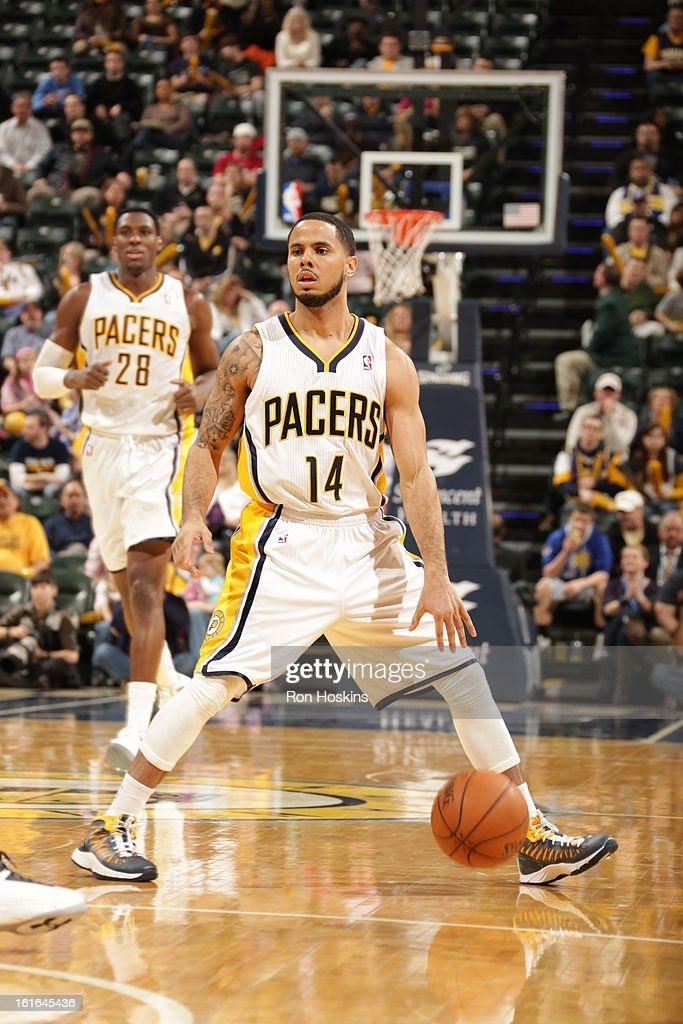 D.J. Augustin #14 of the Indiana Pacers handles the ball against the Charlotte Bobcats on February 13, 2013 at Bankers Life Fieldhouse in Indianapolis, Indiana.