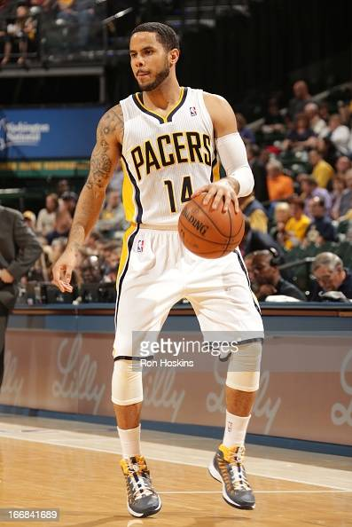 J Augustin of the Indiana Pacers handles the ball during the game between the Indiana Pacers and the Philadelphia 76ers on April 17 2013 at Bankers...