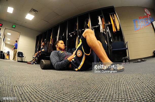 J Augustin of the Indiana Pacers is seen in the locker room during the Game Three of the Eastern Conference Quarterfinals between the Indiana Pacers...