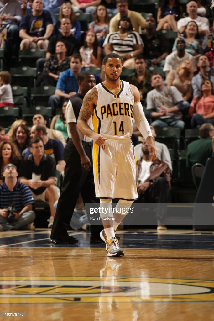 D.J. Augustin #14 of the Indiana Pacers walks up the court after a play against the Cleveland Cavaliers on April 8, 2013 at Bankers Life Fieldhouse in Indianapolis, Indiana.