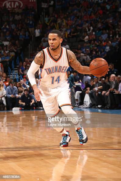 J Augustin of the Oklahoma City Thunder drives to the basket against the Sacramento Kings on April 10 2015 at the Chesapeake Energy Arena in Oklahoma...