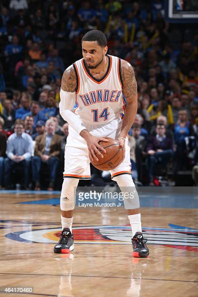 J Augustin of the Oklahoma City Thunder handles the ball against the Denver Nuggets on February 22 2015 at the Chesapeake Energy Arena in Oklahoma...