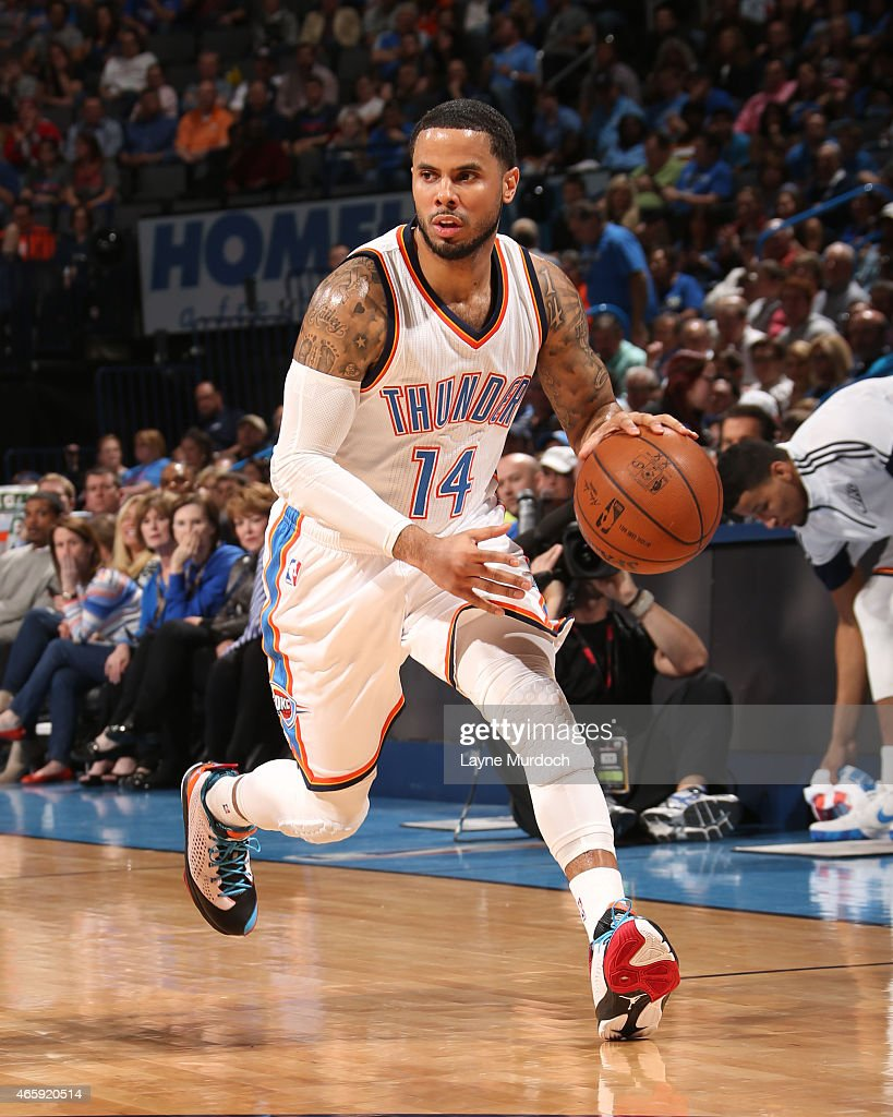 J Augustin of the Oklahoma City Thunder handles the ball against the Los Angeles Clippers on March 11 2015 at the Chesapeake Energy Arena in Oklahoma...