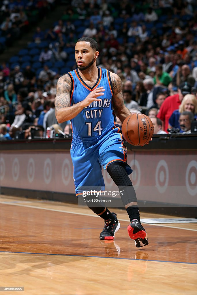 J Augustin of the Oklahoma City Thunder handles the ball against the Minnesota Timberwolves on April 15 2015 at Target Center in Minneapolis...