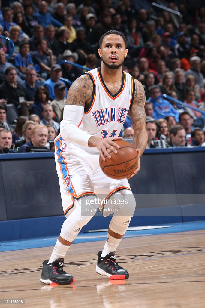 J Augustin of the Oklahoma City Thunder shoots against the Denver Nuggets on February 22 2015 at the Chesapeake Energy Arena in Oklahoma City...