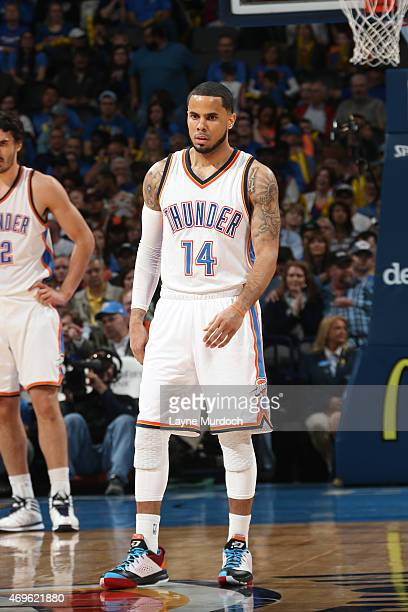 J Augustin of the Oklahoma City Thunder stands on the court during a game against the Portland Trail Blazers on April 13 2015 at Chesapeake Energy...