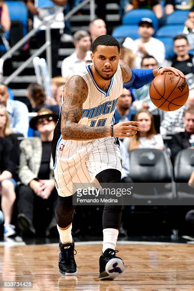 J Augustin of the Orlando Magic brings the ball up court during the game against the Toronto Raptors on February 3 2017 at Amway Center in Orlando...
