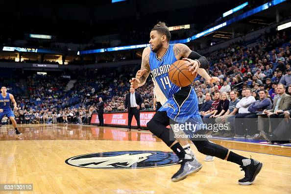 J Augustin of the Orlando Magic drives to the basket during the game against the Minnesota Timberwolves on January 30 2017 at Target Center in...