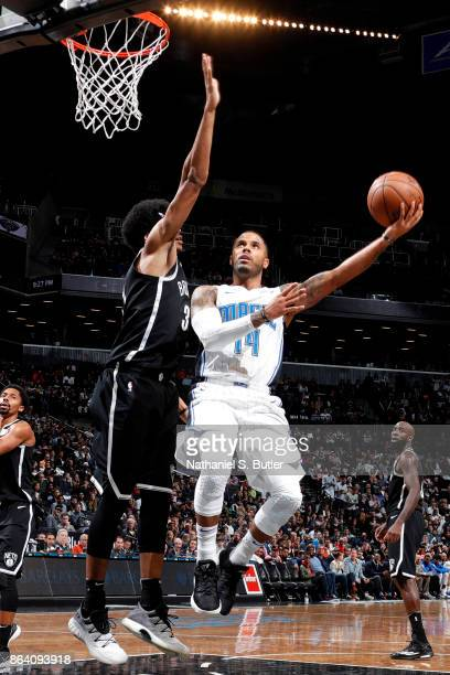 J Augustin of the Orlando Magic goes for a lay up against the Brooklyn Nets on October 20 2017 at Barclays Center in Brooklyn New York NOTE TO USER...