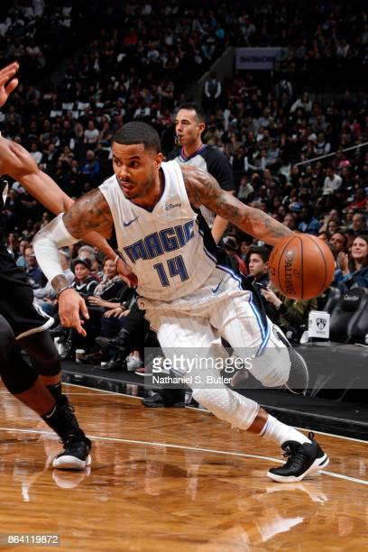 J Augustin of the Orlando Magic handles the ball against the Brooklyn Nets on October 20 2017 at Barclays Center in Brooklyn New York NOTE TO USER...