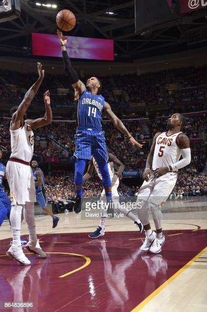J Augustin of the Orlando Magic handles the ball against the Cleveland Cavaliers on October 21 2017 at Quicken Loans Arena in Cleveland Ohio NOTE TO...