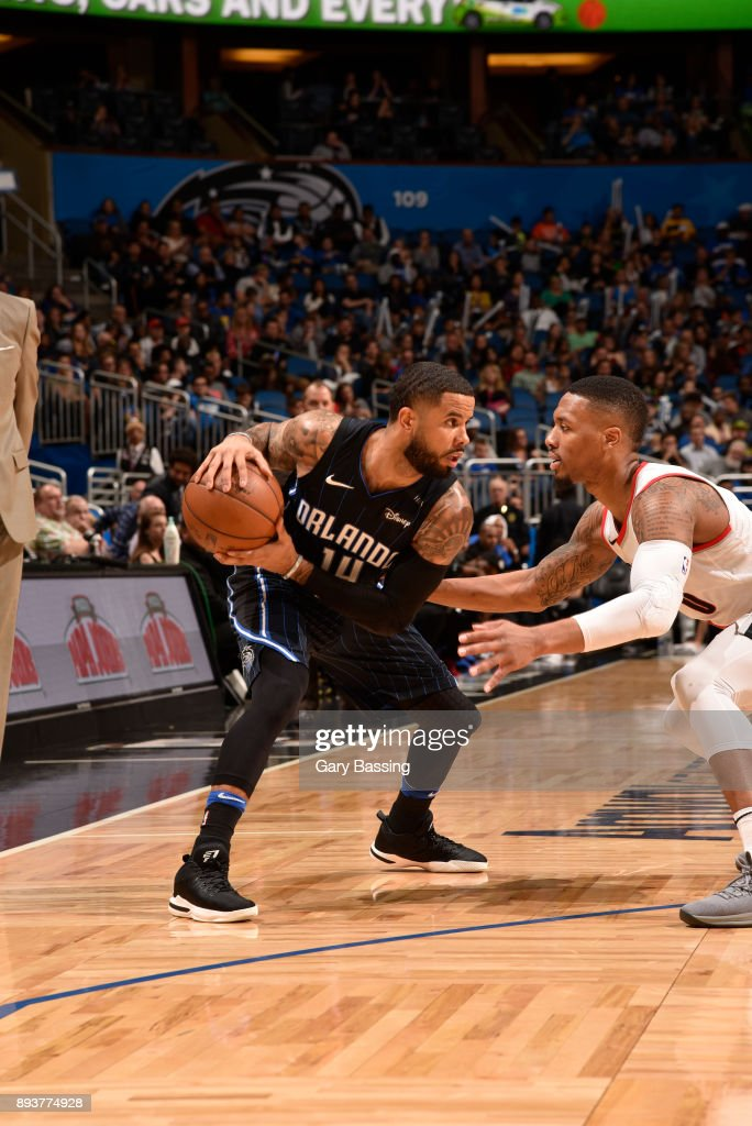 D.J. Augustin #14 of the Orlando Magic handles the ball against the Portland Trail Blazers on December 15, 2017 at Amway Center in Orlando, Florida.