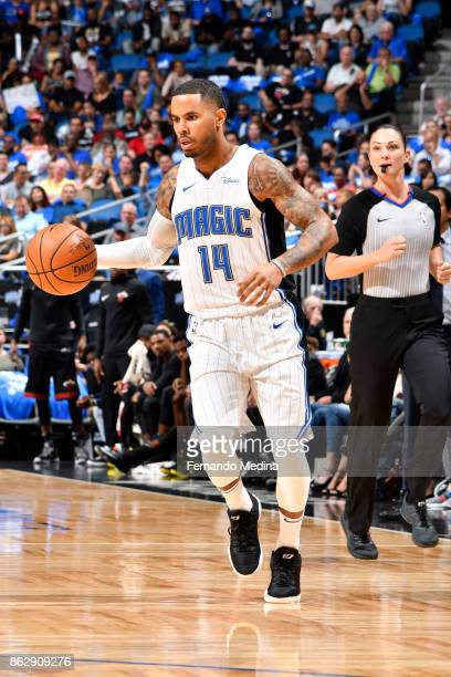 J Augustin of the Orlando Magic handles the ball during the game against the Miami Heat on October 18 2017 at Amway Center in Orlando Florida NOTE TO...