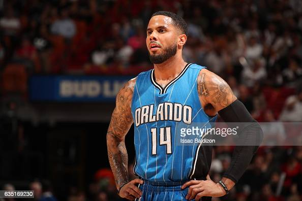 J Augustin of the Orlando Magic looks on during the game against the Miami Heat on February 13 2017 at American Airlines Arena in Miami Florida NOTE...