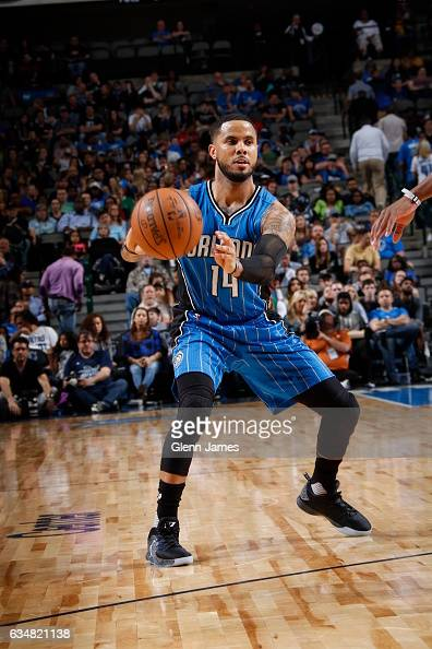 J Augustin of the Orlando Magic passes the ball against the Dallas Mavericks on February 11 2017 at the American Airlines Center in Dallas Texas NOTE...