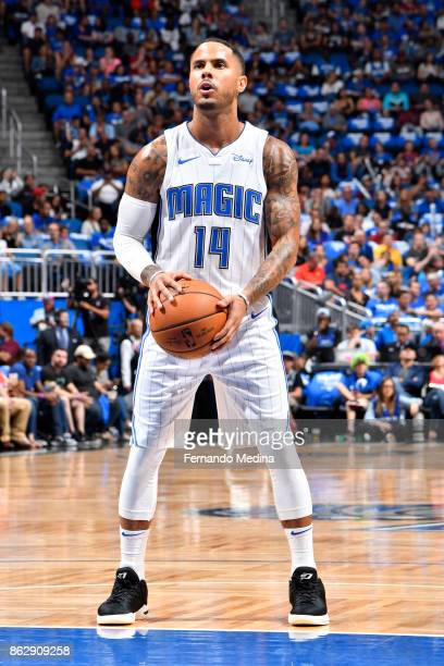 J Augustin of the Orlando Magic shoots a free throw during the game against the Miami Heat on October 18 2017 at Amway Center in Orlando Florida NOTE...