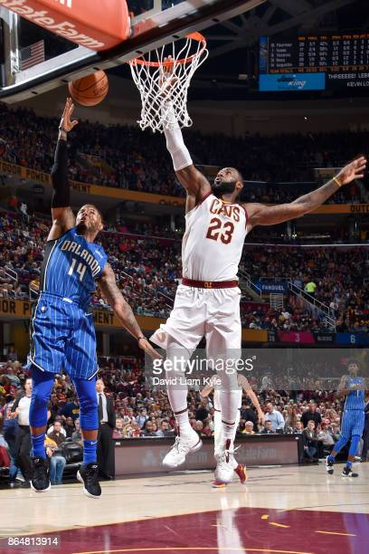 J Augustin of the Orlando Magic shoots the ball against LeBron James of the Cleveland Cavaliers on October 21 2017 at Quicken Loans Arena in...