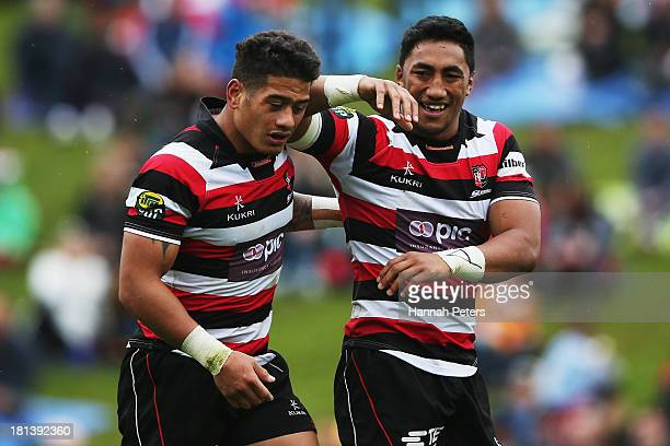 Augustine Pulu and Bundee Aki of Counties celebrate after winning the round six ITM Cup match between Counties Manukau and Waikato at Ecolight...