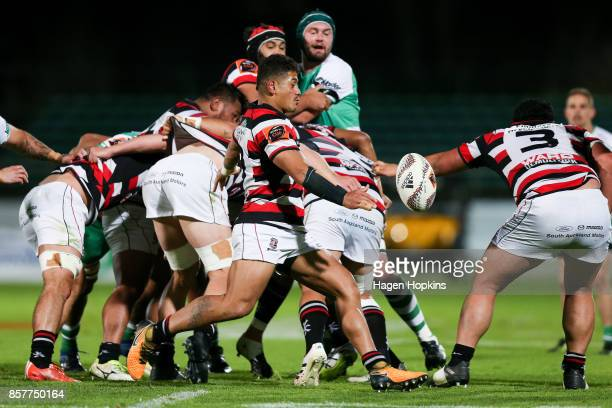 Augustine Pulu of Counties Manukau kicks during the round eight Mitre 10 Cup match between Manawatu and Counties Manukau at Central Energy Trust...