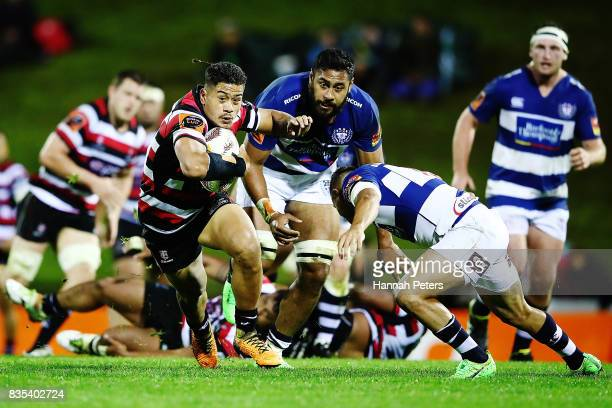 Augustine Pulu of Counties Manukau makes a break during the round one Mitre 10 Cup match between Counties Manukau and Auckland at ECOLight Stadium on...