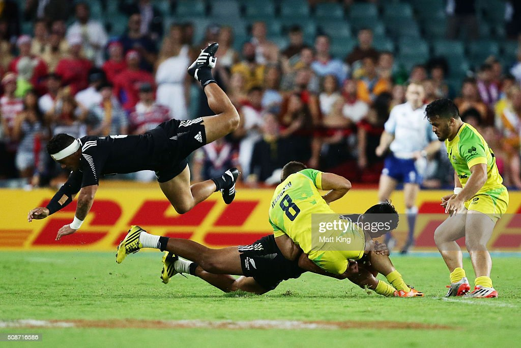 Augustine Pulu of New Zealand flys over the top while attempting a tackle during the 2016 Sydney Sevens match between New Zealand and Australia at Allianz Stadium on February 6, 2016 in Sydney, Australia.