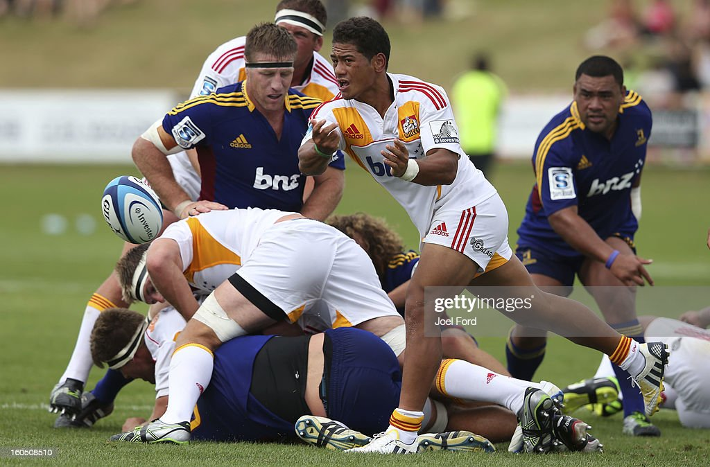 Augustine Pulu of the Chiefs gets away a pass during the 2013 Super Rugby pre-season friendly match between the Chiefs and the Highlanders at Owen Delany Park, Taupo on February 2, 2013 in Taupo, New Zealand.