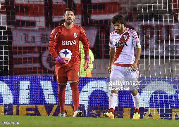 Augusto Batalla and Leonardo Ponzio of River Plate look on during a match between River Plate and Aldosivi as part of Torneo Primera Division 2016/17...