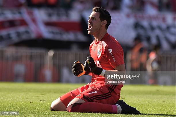 Augusto Batalla goalkeeper of River Plate celebrates after the first goal of his team during a match between River Plate and Boca Juniors as part of...