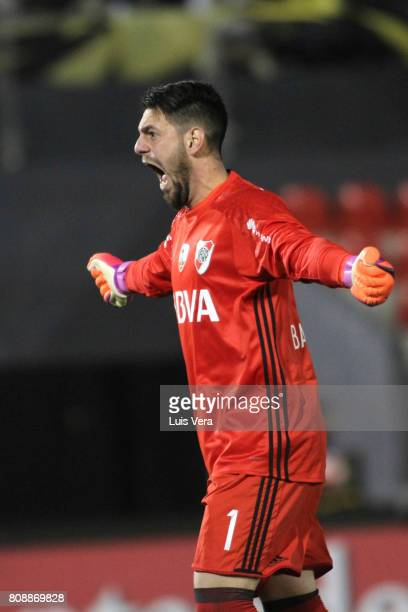 Augusto Batalla goalkeeper of River PLate celebrates during a first leg match between Guarani and River Plate as part of round of 16 of Copa CONMEBOL...