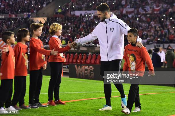 Augusto Batalla goalkeeper of River Plate walks onto the field prior Fernando Cavenaghi's farewell match at Monumental Stadium on July 01 2017 in...