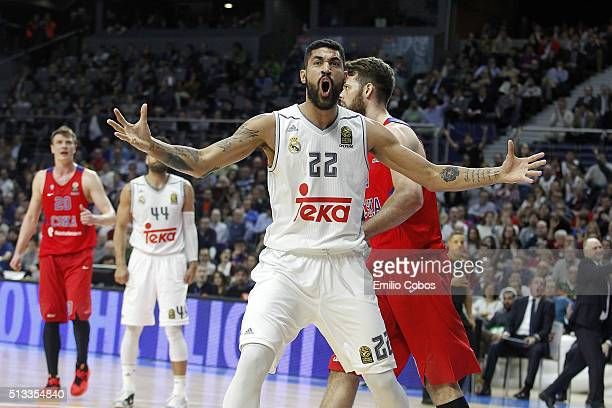 Augusto Cesar Lima #22 of Real Madrid in action during the 20152016 Turkish Airlines Euroleague Basketball Top 16 Round 9 game between Real Madrid v...
