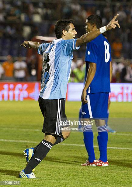 Augusto Fernandez of Argentina celebrates during a friendly soccer match between Argentina and Guatemala at Mateo Flores stadium on June 14 in...