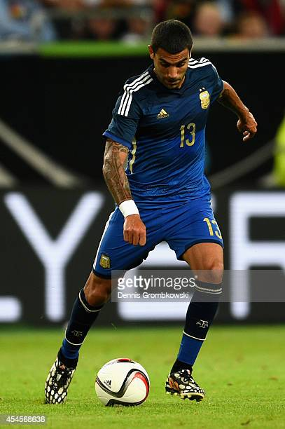 Augusto Fernandez of Argentina controls the ball during the international friendly match between Germany and Argentina at EspritArena on September 3...