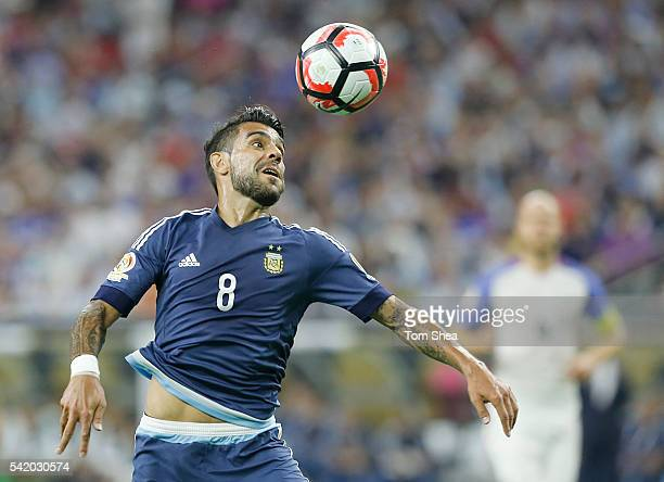 Augusto Fernandez of Argentina controls the ball during the Semifinal match between United States and Argentina at NRG Stadium as part of Copa...