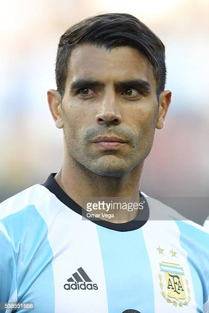 Augusto Fernandez of Argentina during the national anthem prior to a group D match between Argentina and Chile at Levi's Stadium as part of Copa...