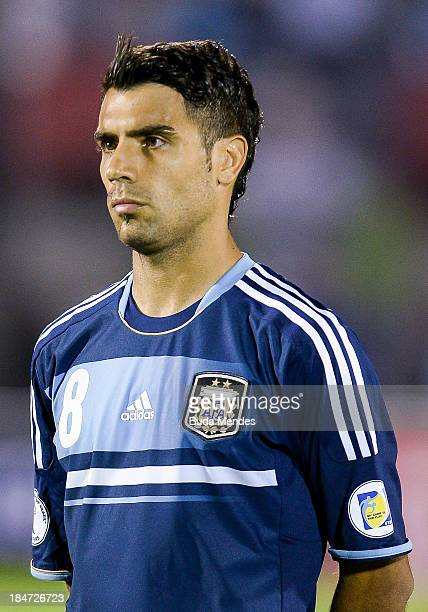 Augusto Fernandez of Argentina looks on during a match between Uruguay and Argentina as part of the 18th round of the South American Qualifiers for...