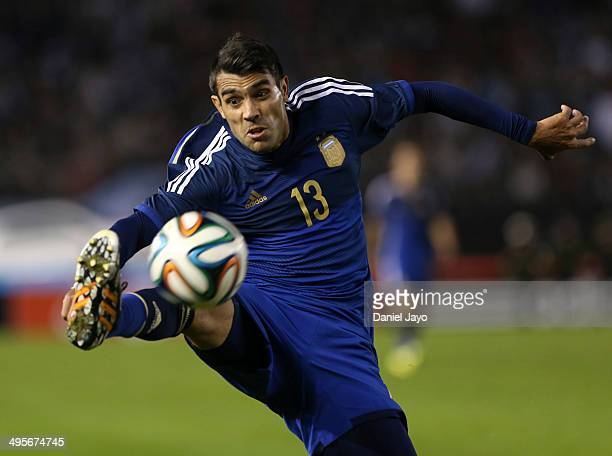 Augusto Fernandez of Argentina plays the ball during a FIFA friendly match between Argentina and Trinidad Tobago at Monumental Antonio Vespucio...