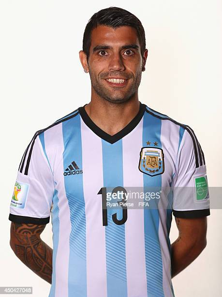 Augusto Fernandez of Argentina poses during the official FIFA World Cup 2014 portrait session on June 10 2014 in Belo Horizonte Brazil
