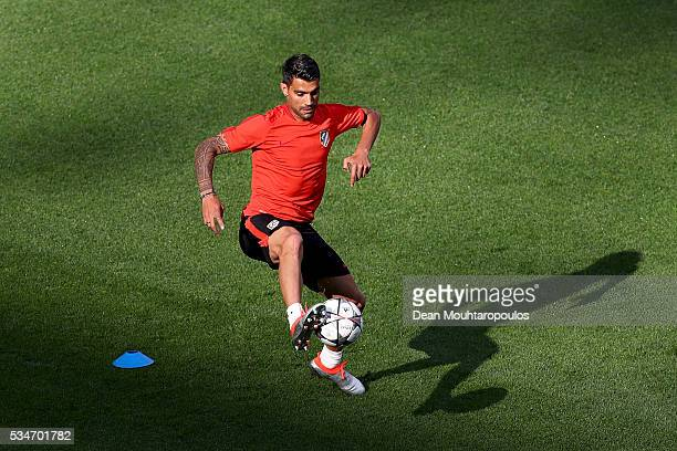 Augusto Fernandez of Atletico Madrid controls the ball during an Atletico de Madrid training session on the eve of the UEFA Champions League Final...