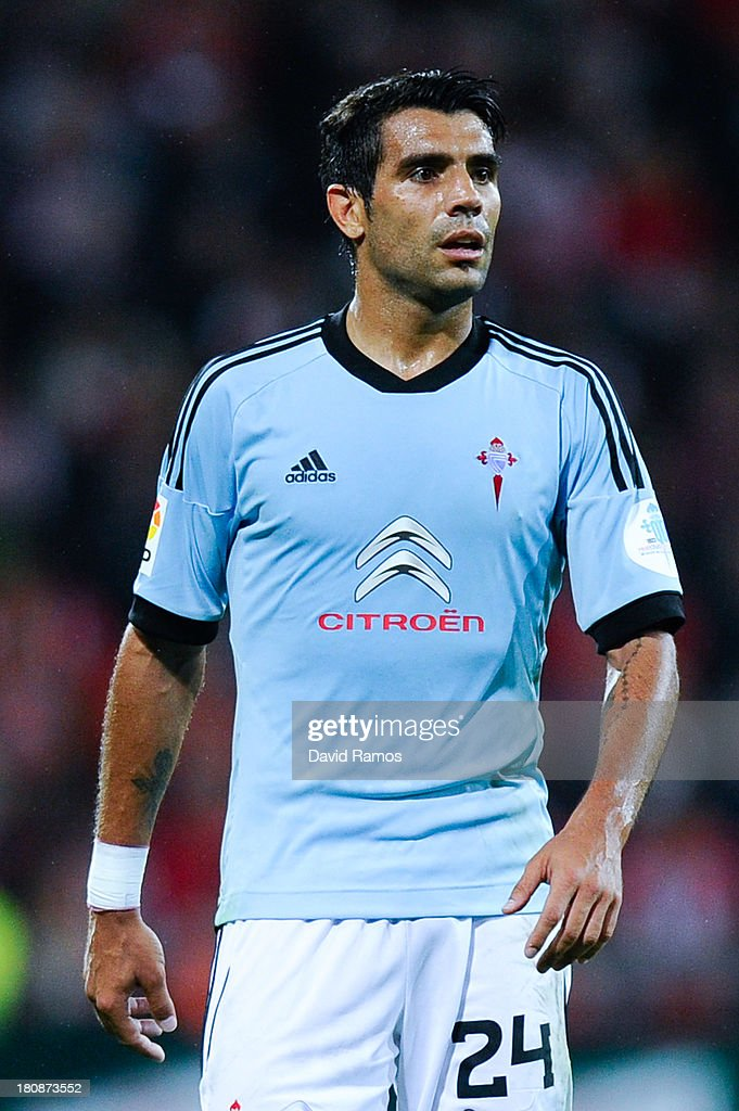 <a gi-track='captionPersonalityLinkClicked' href=/galleries/search?phrase=Augusto+Fernandez&family=editorial&specificpeople=684736 ng-click='$event.stopPropagation()'>Augusto Fernandez</a> of RC Celta de Vigo looks on during the La Liga match between Athletic Club and RC Celta de Vigo at San Mames Stadium on September 16, 2013 in Bilbao, Spain.