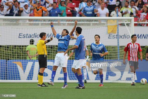 Augusto Fernandez of Velez Sarsfiled celebrates a goal during a match between Chivas v Velez Sarsfield as part of Copa Libertadores 2012 at Omnilife...