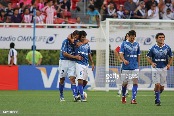 Augusto Fernandez of Velez Sarsfiled celebrates a goalduring a match between Chivas v Velez Sarsfield as part of Copa Libertadores 2012 at Omnilife...