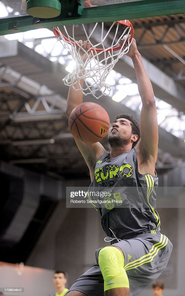 Augusto Lima dunks during adidas Eurocamp day one at La Ghirada sports center on June 8, 2013 in Treviso, Italy.