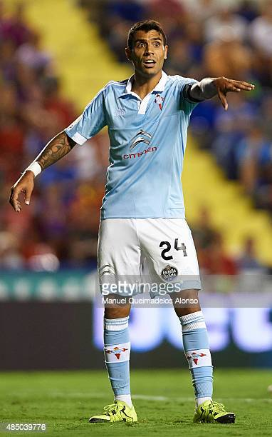 Augusto Matias Fernandez of Celta reacts during the La Liga match between Levante UD and Real Club Celta de Vigo at Ciutat de Valencia Stadium on...