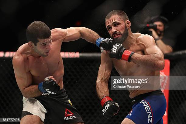 Augusto Mendes throws a left on Frankie Saenz during the UFC Fight Night event at the at Talking Stick Resort Arena on January 15 2017 in Phoenix...