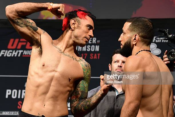 Augusto Montano of Mexico and Belal Muhammad face off during the UFC Fight Night weighin at the State Farm Arena on September 16 2016 in Hidalgo Texas