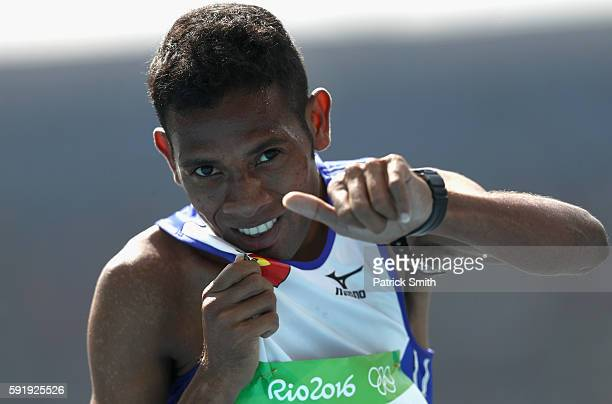Augusto Soares of TimorLeste competes in the Men's 1500m Round 1 on Day 11 of the Rio 2016 Olympic Games at the Olympic Stadium on August 16 2016 in...