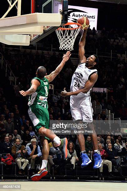 Augustus Gilchrist of Granarolo competes with Adam Hanga of Sidigas during tha LegaBasket Serie A1 match between Virtus Granarolo Bologna vs Sidigas...